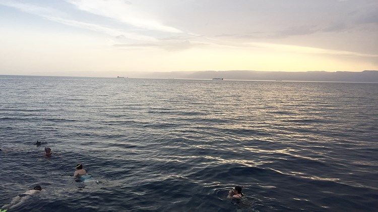 Snorkeling in the Red Sea at sunset with Egypt and Israel in the distance.