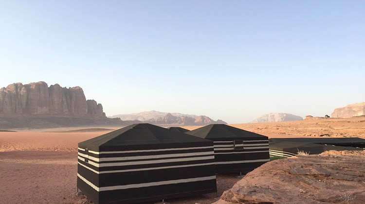 A typical Bedouin camp in Wadi Rum.