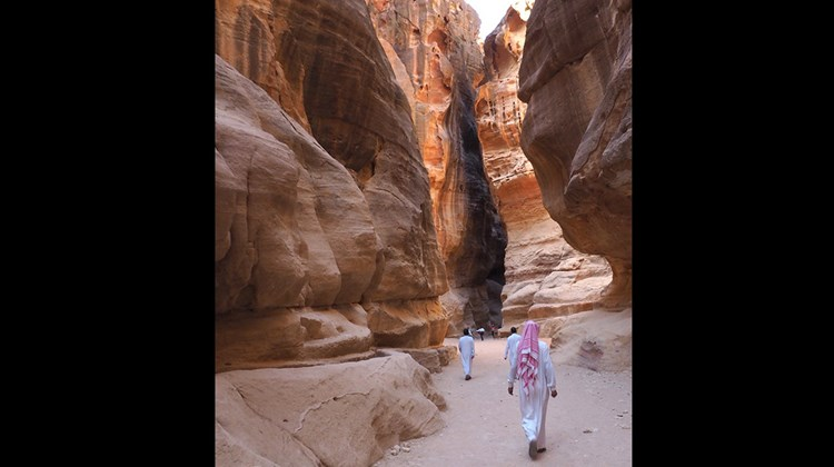 The scenic walk to the ancient city to Petra.