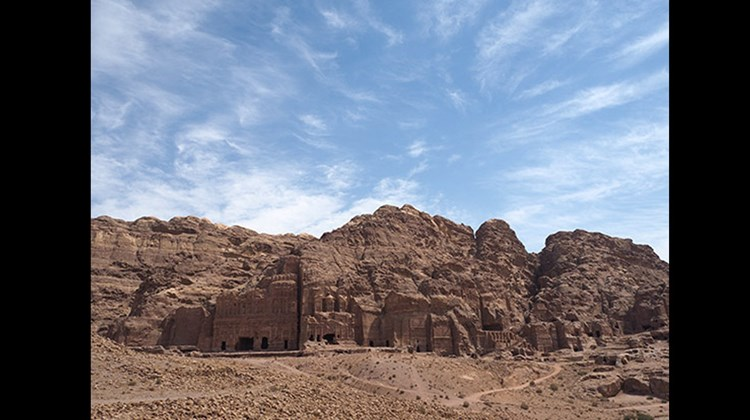 A view of the royal tombs in Petra.