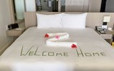 A welcome sign in a guestroom at the Hyatt Zilara Rose Hall in Jamaica.