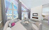 A contemporary room at Club Med Val Thorens Sensations in Saint-Martin-de-Belleville in the French Alps.