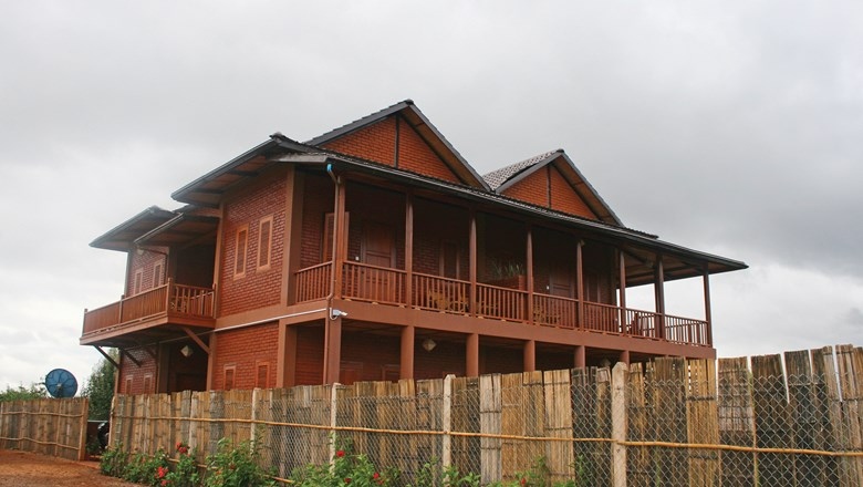 The exterior of Thahara Pindaya, a farmhouse in Myanmar's Shan state.
