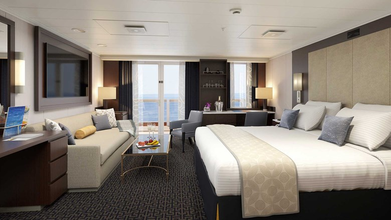 Suite renovations will begin in December for the Eurodam. Pictured, a rendering of a renovated Signature Suite.