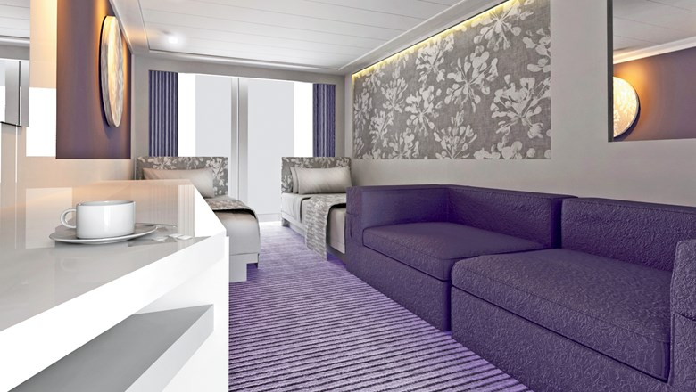 A rendering of a renovated cabin onboard the Victoria Jenna.