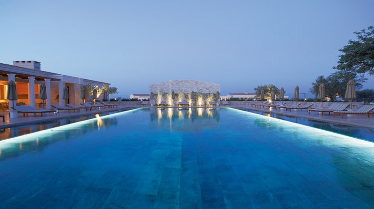 The pool area at the Amanzoe.