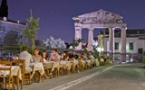 A restaurant in Athens' Plaka neighborhood, one of the city's most popular for alfresco evening dining.