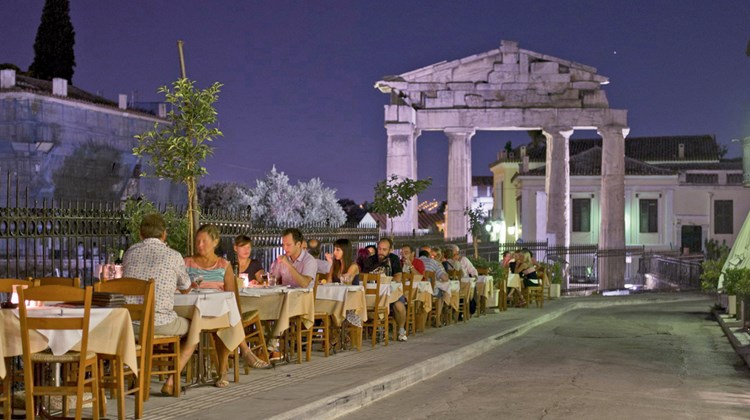 A restaurant in Athens&#39; Plaka neighborhood, one of the city&#39;s most popular for alfresco evening dining.<br /><br /><strong>Photo Credit: GNTO/H.Kakarhouas</strong>