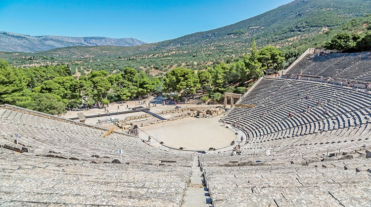 The well-preserved theater of Epidaurus in Mycenae is still used today as an evocative venue for summertime performances of ancient comedies and tragedies.<br /><br /><strong>Photo Credit: Shutterstock/S-F</strong>
