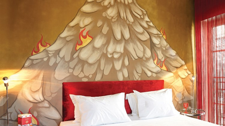 A graffiti guestroom at the Grecotel Pallas Athena.