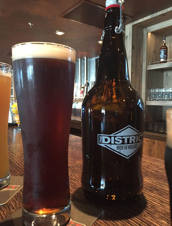 The District Brew House has several craft beer selections.