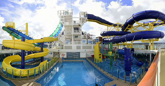 Water slides on the Norwegian Escape.