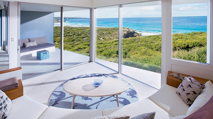 The Flinders Suite is one of 21 suites at the impressive, cliff-top Southern Ocean Lodge, a luxurious eco-resort on Kangaroo Island's southwestern shore.