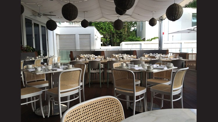 The al fresco setup of the Nautilus' Driftwood Room, run by chef Alex Guarnaschelli.