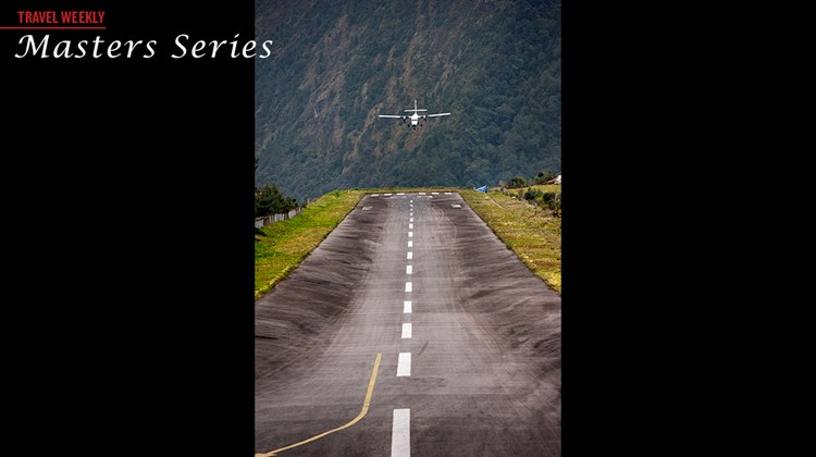 A plane comes in for a landing at the Tenzing-Hillary Airport in Lukla, the gateway to the Himalayas.