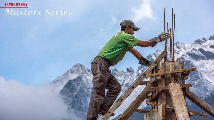 Construction at the Tenzing-Hillary Airport in Lukla in the Himalayas.