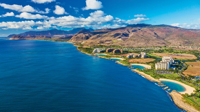 West Oahu's Ko Olina district, home to Disney's Aulani, the Marriott Ko Olina Beach Club and the Four Seasons Resort Oahu, opening this summer.