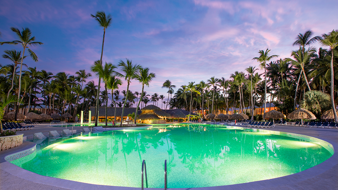 The main pool at the Grand Palladium Palace Resort in Punta Cana, Dominican Republic.