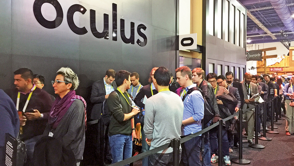 People waited as long as two hours to experience Oculus Rift at the Consumer Electronics Show in Las Vegas. Photo Credit: Michelle Baran