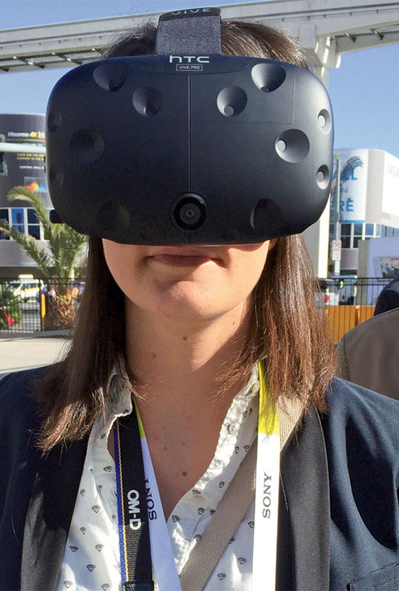 The author checks out an HTC Vive headset at the Consumer Electronics Show.