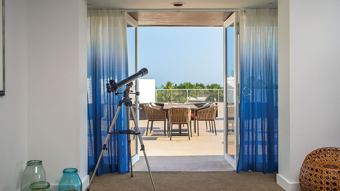 Two new 1,400-square-foot suite penthouses at the Hawks Cay resort feature en suite telescopes for stargazing.