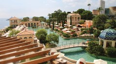 The lagoon, with solarium and gardens, on the grounds of the Monte-Carlo Bay Hotel & Resort.