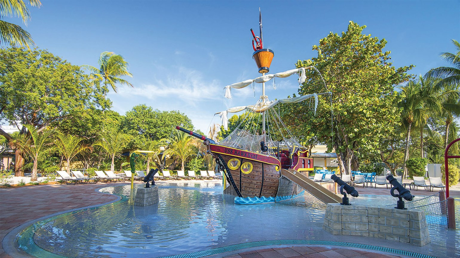 The pirate ship pool at the Hawks Cay resort's Coral Cay Activities & Adventures kids area.