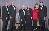 Flanked by Bruce Shulman, left, and Arnie Weissmann of Travel Weekly are Lifetime Achievement Award winners John Noel (2007), Susan Tanzman (2015), Brian Stack (2015), Kathy Sudeikis (2005) and Valerie Wilson (2012).