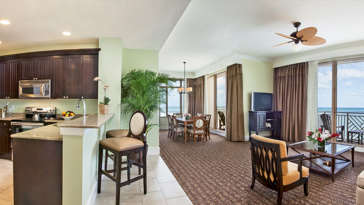 A two-bedroom Sunset Deluxe Kitchen suite at the Sandpearl Resort in Clearwater Beach, Fla.