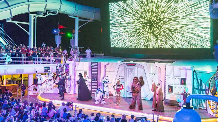 Star Wars characters during the &#39;&#39;Summon the Force&#39;&#39; deck party show, which was followed by fireworks.<br /><br /><strong>Photo Credit: Johanna Jainchill</strong>