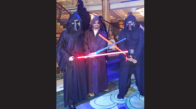 David Riggans, as Kylo Ren, Irshan Rajput as a Jedi Warrior, and Zeshan Rajput, also as Kylo Ren were with a group of friends and family on the ship that day.<br /><br /><strong>Photo Credit: Johanna Jainchill</strong>