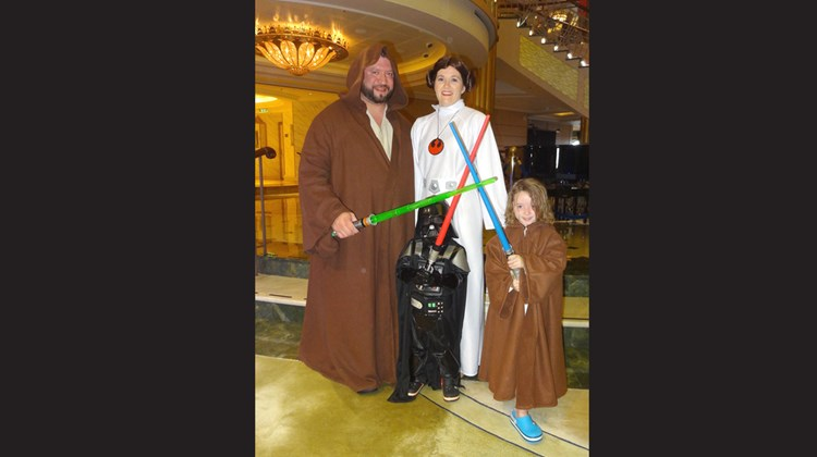It was a family affair for the Perkins, from Memphis: Teri, Tim, Rlely, 6, and Grayson, 3, dressed as Princess Leia, Obi Wan Kenobi, Luke Skywalker and Darth Vader.<br /><br /><strong>Photo Credit: Johanna Jainchill</strong>