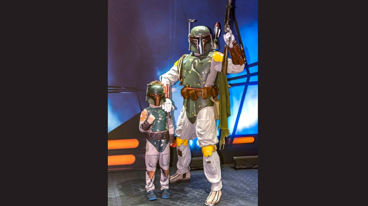 Star Wars Day at Sea features Star Wars character encounters, like bounty hunter Boba Fett.<br /><br /><strong>Photo Credit: Johanna Jainchill</strong>