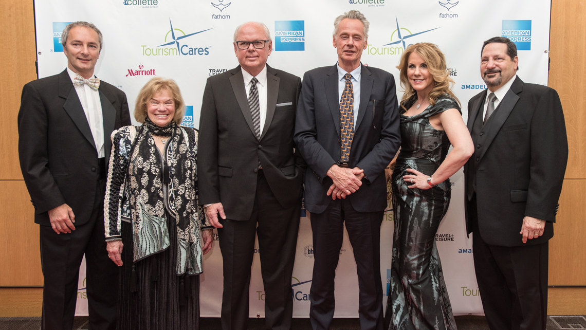Tourism Cares held a pre-gala reception at the Conrad New York for its Travel Philanthropy Awards. From left: Derek Hydon, president of MaCher; Toni Neubauer, president of Myths and Mountains; John Noel, president of Berkshire Hathaway Travel Protection; Sven Lindblad, CEO of Lindblad Expeditions; Carolyn Cauceglia, vice president of strategic sales for Amadeus; and Brad Finkle, president of TripMate. Photo Credit: Julienne Schaer