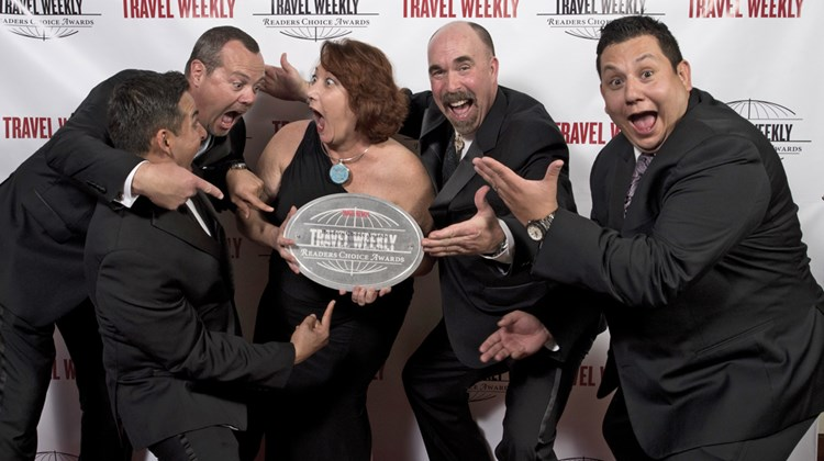 From left: Viking Cruises' Erik De La Cruz, Rob Huffman, Michele Saegesser, Michael Weldon and Eric Molina. Viking won in three cruise categories.