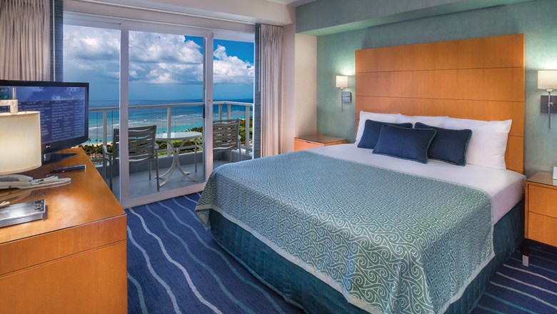 A renovated guestroom at the Ala Moana Hotel.