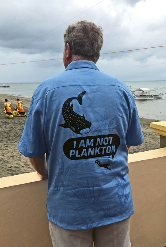 Richard Fain's shirt reflects a common concern in Donsol, the Philippine's whale shark-watching capital. Photo Credit: Arnie Weissmann