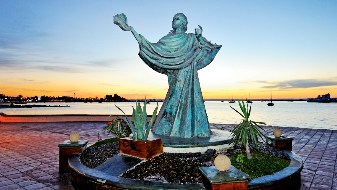 The Cristo del Caracol statue on La Paz's Malecon boardwalk.