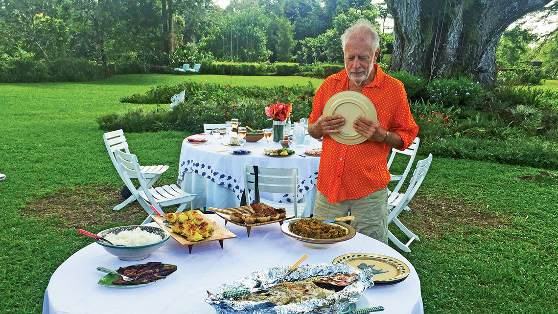 Chris Blackwell at a farm-to-table lunch at Pantrepant, a former sugar plantation that now is home to an organic farm. Photo Credit: Arnie Weissmann