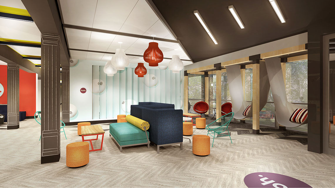 """The Hive,"" Tru's lobby concept, will offer four separate zones, including one for lounging."