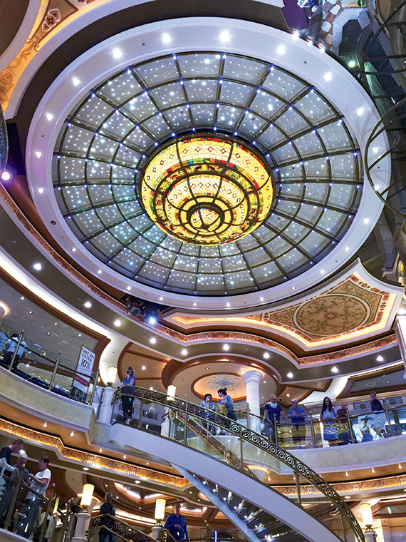 The atrium of the Ruby Princess, a ship that was refurbished last December. Photo Credit: Tom Stieghorst