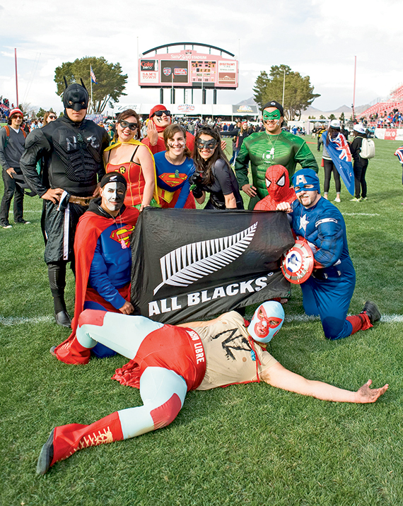 Fans at the tournament often dress in team colors or in Halloween-style costumes. Photo Credit: Courtesy of USA Sevens