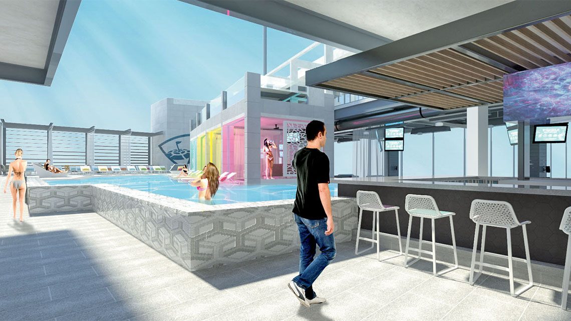 A rendering of the pool area at Topgolf Las Vegas.