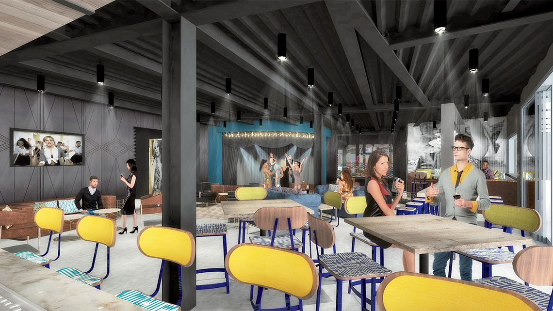 A rendering of one of five bars at Topgolf Vegas.