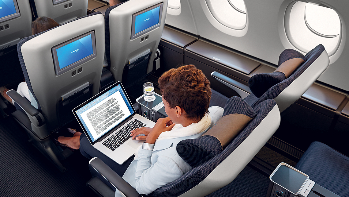 British Airways World Traveller Plus section.