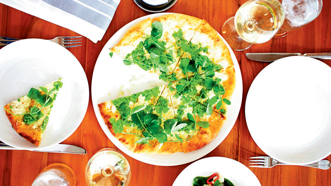 Miami's 1 Hotel South Beach features the restaurant Beachcraft, helmed by Tom Colicchio, with healthier options on the menu like this vegetable flatbread.