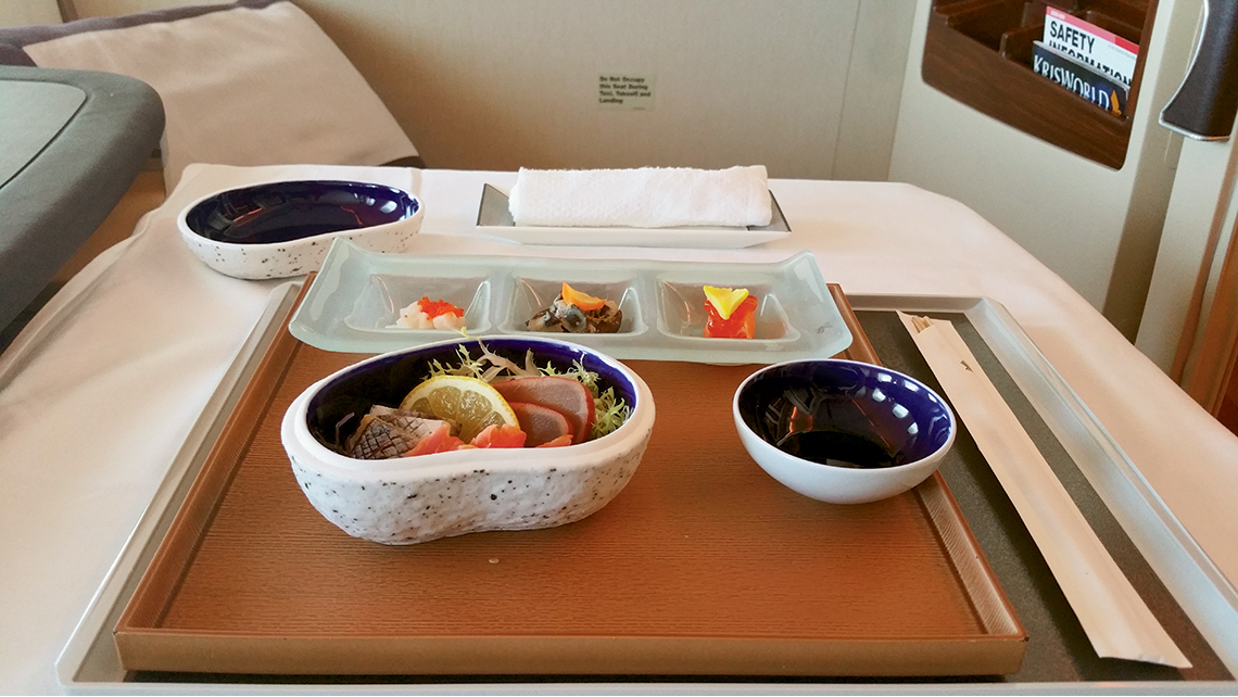 A Singapore Airlines' six-course Japanese tasting menu, Kyo Kaiseki; airline food blogger Nikos Loukas said it was the best in the sky.