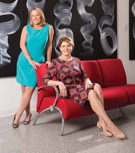 Cultural Council of Palm Beach County Director of Marketing Marilyn Bauer, standing, and Cultural Concierge Bama Lutes Deal. Photo Credit: The Cultural Council of Palm Beach County