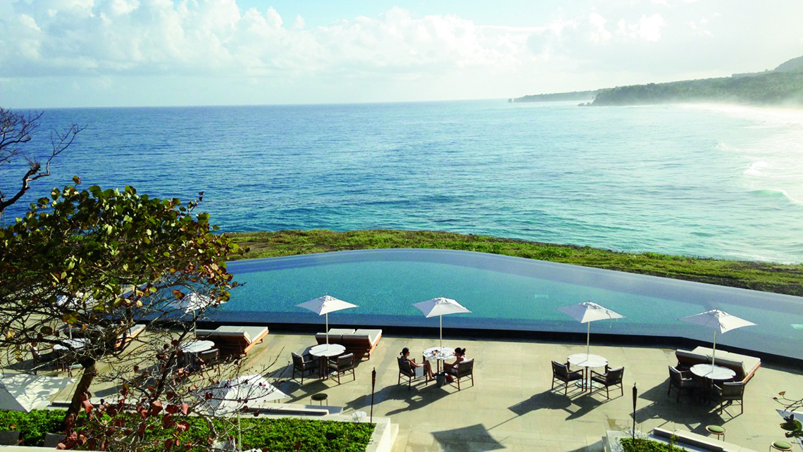 A view of the infinity pool and Atlantic from Amanera's breakfast terrace. Photo Credit: Gay Nagle Myers