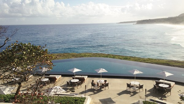 A view of the infinity pool and Atlantic from Amanera's breakfast terrace.